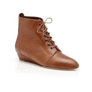 Loeffler Randall Cognac June Lace Up Wedge Boot 5